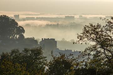 Lyon à l' automne dans la brume matinale , depuis Caluire