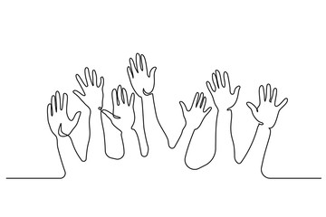 Continuous one line drawing. Abstract Hands Up. Vector illustration