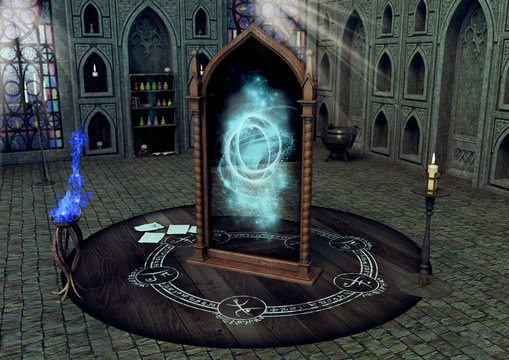 A magical mirror in a witchcraft temple.