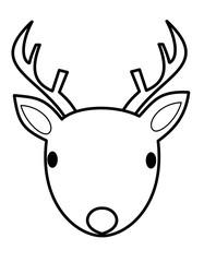 鹿の顔ツノ(線画)