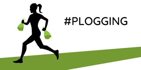 Woman running with two litter bags in her hands. Plogging mode. Vector illustration. Eps 10.