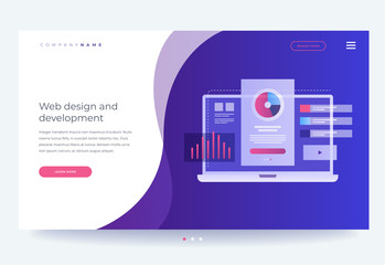 Homepage. The concept of developing mobile UI / UX interface. Laptop with interface elements. Digital industry. Innovations and technologies. Vector flat illustration for web page, banner.