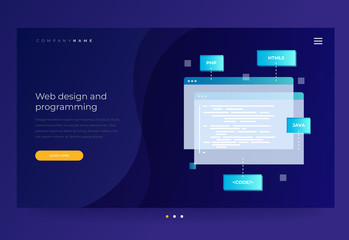 Title for the website. Concept of programming and software. Open web pages with coding and programming languages on blue background. Vector flat illustration for web page, banner, presentation.