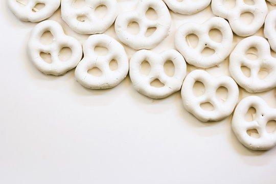 Yogurt Pretzels isolated on white background