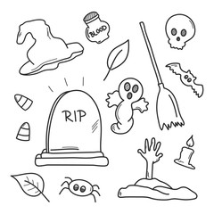 Halloween symbol set. Doodle sketch. Hand drawn illustration vector.