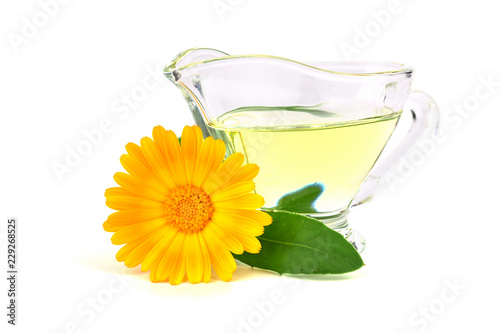 Common Marigold Flower (Calendula Officinalis) Essential Oil Extract. Isolated on White Background. Also Ruddles, Pot or Scotch Marigold.