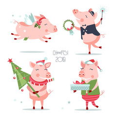 funny new year pigs characters set with different objects