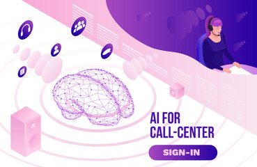 Isometric call center 3d vector illustration, artificial intelligence manages customer service, mobile support landing page, operator with headphone, contact centre concept