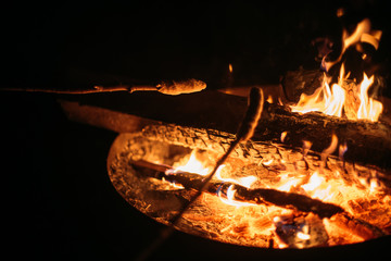 two marshmallows are roasting in the flames of a bonfire