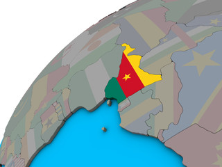 Poster Castle Cameroon with national flag on 3D globe.