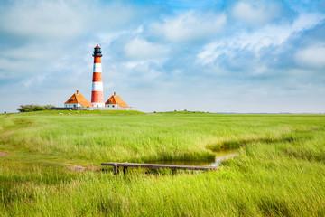 Westerheversand lighthouse, North Sea, Schleswig-Holstein, Germany