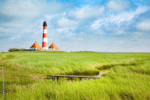 Wall mural Westerheversand lighthouse, North Sea, Schleswig-Holstein, Germany