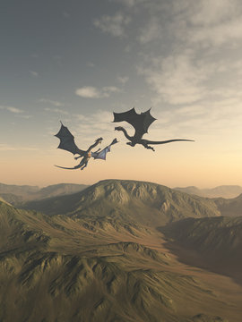 Friendly Dragon Companions Flying over a Mountain Landscape - fantasy illustration