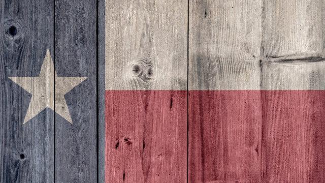 USA Politics News Concept: US State Texas Flag Wooden Fence