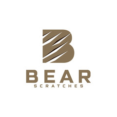 bear scratches logo b  Claws scratching animal (cat, dog, tiger, lion, bear) illustration. Can be used for decoration, as design element at printing, textile