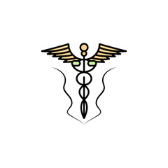 Medicine symbol icon. Element of color ancient greece  icon for mobile concept and web apps. Colored Medicine symbol icon can be used for web and mobile