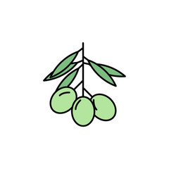 Olive icon. Element of color ancient greece  icon for mobile concept and web apps. Colored Olive icon can be used for web and mobile