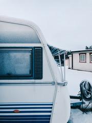 Scandinavian Trailer Park Detail During Wintertime