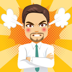 Angry face expression steam businessman with comic background