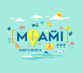 Miami, Florida vector design of attractions icons, and typography. For t-shirts, cards, banners, posters.