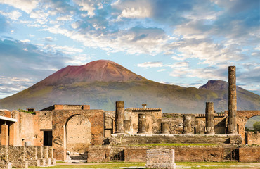 Photo sur Plexiglas Naples Vesuvius and Pompeii