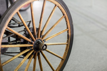 Old wheel isolated.Vintage Car Wheels - Classic Vehicles.