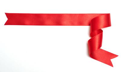 red ribbon banner on white