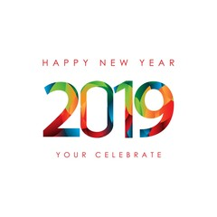 Happy New Year 2019 Vector Template Design Illustration