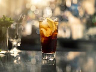 Drink on a bar.
