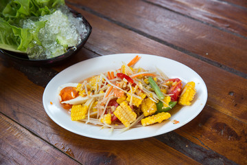 Thai food, corn salad with salted spicy sour dressing.Thai papaya spicy salad or know as Som Tum corn.