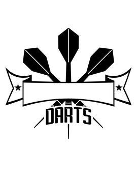 logo text spielen darts verein club werfen dart pfeil sport spaß spiel freunde team crew wurfpfeil banner schreiben name design