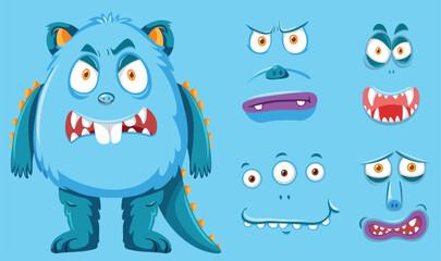 A blue monster and facial set