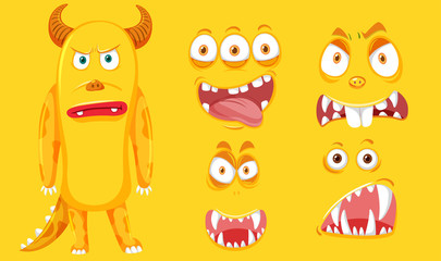 A yellow monster with facial set