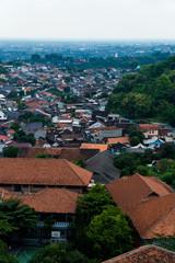 A birds eye view of a neighbourhood in Indonesia