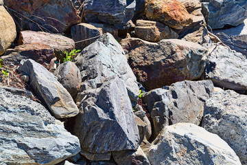 Close view of large boulders used for a seawall in the early morning light.