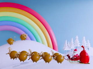 Merry Christmas and happy New year,Santa claus with reindeer ,3d rendering .