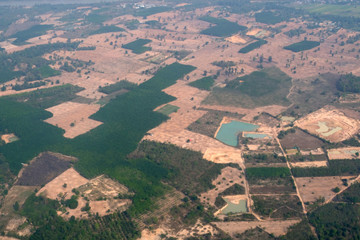 top view field roads and river, aerial photo from plane ,Thailand