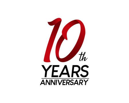10 anniversary logo vector red ribbon