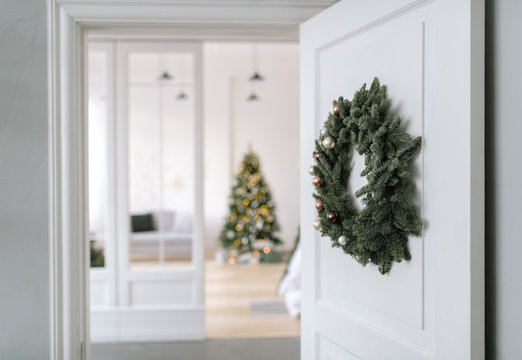 Room with decorated fir tree