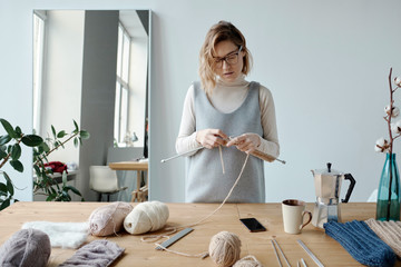 Woman with knitting hobby