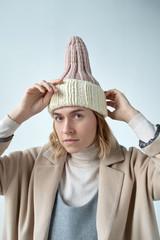 Woman in handmade knit hat