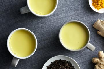 Fresh hot chai tea in mugs.