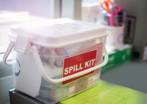 Emergency spill kit wall signs in box for use in Laboratory in Thailand.