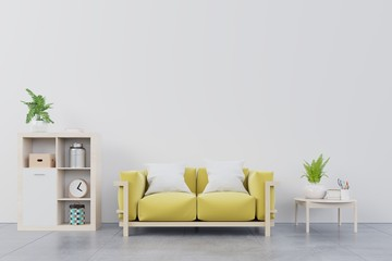Living room with yellow sofa, table,plants,book and wood shelf on white wall background, 3d illustration