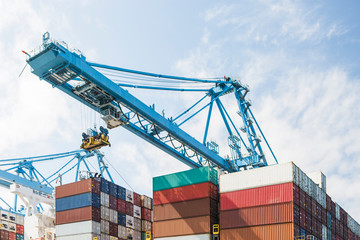 Shipping containers and a container crane