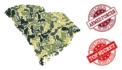 Military camouflage collage of map of South Carolina State and red corroded seals. Vector top secret and armed forces seals with corroded rubber texture. Army flat design for military illustrations.
