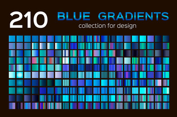 Mega set of 210 blue gradients. Blue backgrounds collection. blue metal gradients, swatches. Different gradation design.