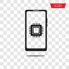 cpu on smartphone icon vector isolated on white background.