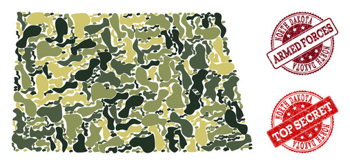 Military camouflage combination of map of North Dakota State and red corroded seals. Vector top secret and armed forces seals with distress rubber texture. Army flat design for military purposes.