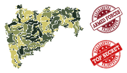 Military camouflage collage of map of Maharashtra State and red scratched seals. Vector top secret and armed forces seals with scratched rubber texture. Army flat design for political templates.